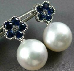 Large 1.96ct Diamond Sapphire And South Sea Pearl 18kt White Gold Hanging Earrings