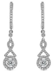 .90ct Diamond 14kt White Gold 3d Solitaire Halo Semi Infinity Hanging Earrings
