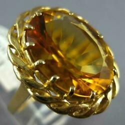 Antique Large 7.0ct Aaa Citrine 14kt Yellow Gold 3d Oval Rope Flower Ring 881