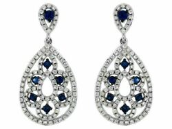 1.24ct Diamond And Aaa Sapphire 14kt White Gold Flower Tear Drop Hanging Earrings