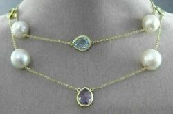Estate Long 14k Yellow Gold Aaa Multi Gem And South Sea Pearl By The Yard Necklace