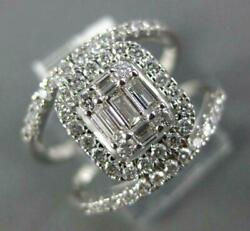 Large .75ct Diamond 14kt White Gold Round And Baguette Square Halo Engagement Ring