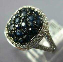 Large 2.15ct Diamond And Aaa Sapphire 14kt White Gold Cluster Square Halo Fun Ring