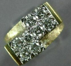 Estate Large 1.0ct Diamond 14kt Two Tone 3d Double Dice Lucky Mens Ring 26568
