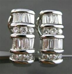 Estate 1.81ct Diamond Round And Baguette 18kt White Gold Hanging Clip On Earrings