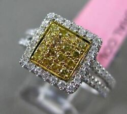 Estate .57ct White And Yellow Diamond 18kt Two Tone Gold Square Halo Promise Ring