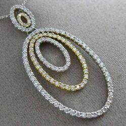 Estate Large 2.21ct Diamond 18kt White And Yellow Gold Multi Oval Floating Pendant