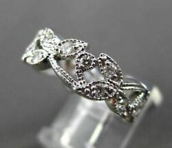 Antique Wide .62ct Diamond 14k White Gold Floral Anniversary Eternity Ring 18530