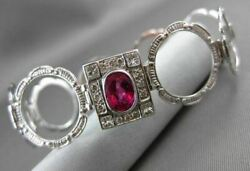 Antique Large And Long 2.07ct Diamond And Rubalite 18kt White Gold 3d Ring Bracelet