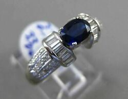 Antique 2.21ct Diamond And Aaa Sapphire 18kt White Gold 3d Oval Engagement Ring