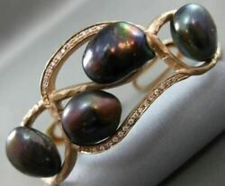 Antique Large .25ct Diamond And Aaa Tahitian Pearl 14kt Rose Gold Bamboo Bracelet