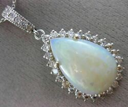 Estate Large 11.5ct Diamond And Aaa Opal 14kt White Gold Pear Shape Pendant 25760