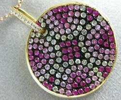 3.39ct Diamond And Aaa White And Pink Sapphire 18k Rose Gold Circular Flower Pendant