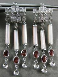 Large 1.60ct Diamond And Garnet And Mother Of Pearl 14kt White Gold Hanging Earrings