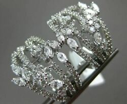 Estate Large 2.26ct Round And Marquise Diamond 14kt White Gold 3d Flower Earrings