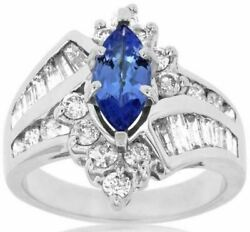 Estate 2.80ct Diamond And Tanzanite 14kt White Gold 3d Marquise Engagement Ring