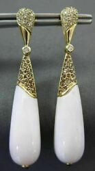 Large 1.25ct Fancy Diamond And Aaa Pink Chalcedony 14kt Yellow Gold Drop Earrings