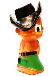 Vintage Rubber Toy Doll Cowboy With Squeaker Made In Yugoslavia 1970s