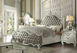 Old World Design Antique White 5 piece Bedroom Set w King Faux Leather Bed IAA6