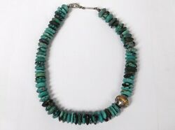 Collier Jewellery Turquoise Rough Solid Silver Vintage Designer 20th Century