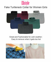 Women Girls Causal Collar Neck Dickey False Turtleneck Half Top Faux Fake Collar