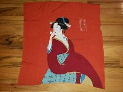 L@@k Noren Tapestry or scarf Ukiyoe Woman with Bidoro From Japan 25quot; x 26quot;