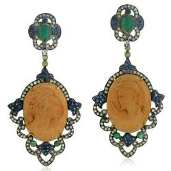 18k Gold Carved Natural Cameo Dangle Earrings Sterling Silver Gemstone Jewelry