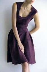 Alaia Burgundy Velvet Scoop Neck Fitted Cocktail Dress Size 40  Small
