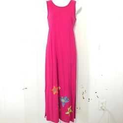 SUSAN BRISTOL Petite Bright Pink 100% Cotton Sleeveless Side Slit Long Dress ~ S