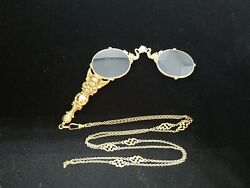 Vintage 14K Gold Lorgnette And  32 in 14k Gold Chain