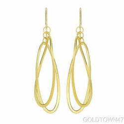 14kt Yellow Gold Shiny 2 Square Tube Hanging Open Oval Fancy Drop Earring