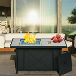 Bali Outdoors 4224 Rectangular Gas Fire Pit Table Propane Wihth Blue Glass