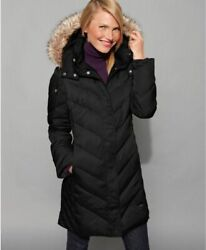 New $245 Kenneth Cole Black Quilted Cheveron Zip Faux Fur Hood Puffer Coat XXS