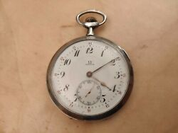 Rare Vintage Omega Silver Pocket Watch Swiss Made Working Condition Collectible