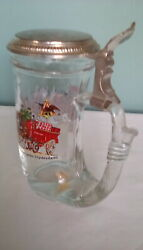 Vintage Beer Stien Anheuser Bush Made In Germany Crystal With Painted Clydesdale