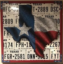 3-d Screw-art And License Plate Art Of Texas Flag By Eric Johnson