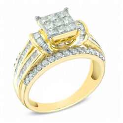1-1/4 Ct. T.w. Square Princess-cut Composite Diamond Engagement Ring In 10k Gold