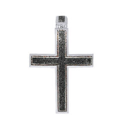 9.00 Ct Round Cut VVS1 10K White Gold Over w Black & Red Mens Cross Pendant