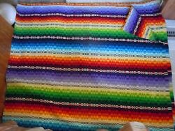Vintage 1940's 1950's Mexican Serape Saltillo Wool Camp Blanket Hand Woven 4 X 7