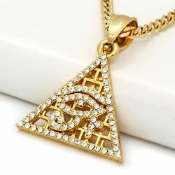 14k Gold Pl Stainless Steel Pyramit Eye Of Horus Pendant / 3mm 24 Cuban Chain