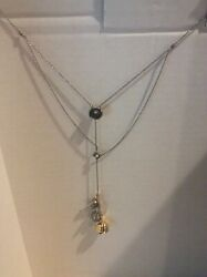 Coach Gold And Silver Tea Rose Multi Layered Necklace $198 $79.99