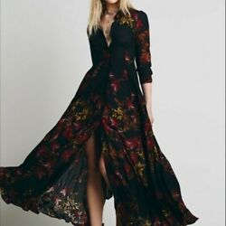 Free People After The Storm Black Floral Maxi Dress Duster Cardigan sz 2 NWT