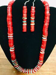 Native American Sw Coral And Turquoise Heishi Necklace Andearrings