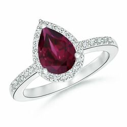 1.81ctw Pear Rhodolite Ring With Diamond Halo In 14k Gold/platinum