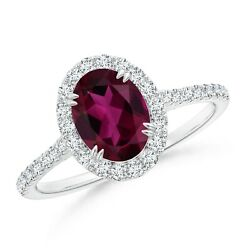 1.79ctw Double Claw-set Oval Rhodolite Halo Ring With Diamonds In Gold/platinum