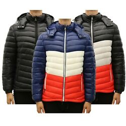 Mens Heavyweight Quilted Shell Hooded Puffer Jacket Water Proof Zipper Color New