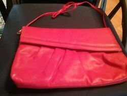 Women Soft Faux Leather Red Clutch Handbag with Snaplock closure Great Condition $16.95