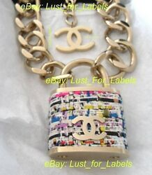 Rare XL Tweed CHANEL Padlock CC Runway Necklace Gold Chain Lock Supermarket NWT