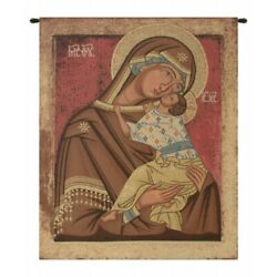 Madonna With Child Russian Icon Mary Jesus Italian Woven Wall Hanging Tapestry
