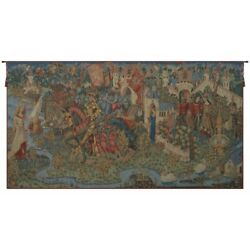 The Legend Of King Arthur Camelot Knights Castles French Woven Tapestry Wall Art